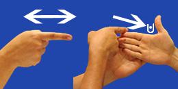 Letra G, con flechas, en sistema dactilológico táctil