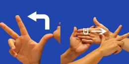 Letra H, con flechas, en sistema dactilológico táctil