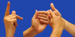 Letra K en sistema dactilológico táctil