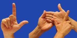 Letra L en sistema dactilológico táctil
