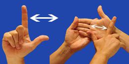 Letra LL, con flechas, en sistema dactilológico táctil