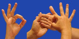 Letra O en sistema dactilológico táctil