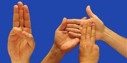 Letra P en sistema dactilológico táctil