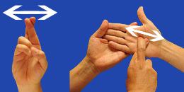 Letra RR, con flechas, en sistema dactilológico táctil