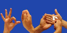 Letra S, con flechas, en sistema dactilológico táctil
