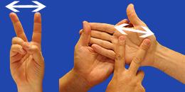 Letra V, con flechas, en sistema dactilológico táctil