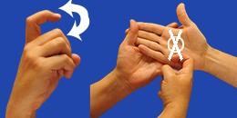 Letra X, con flechas, en sistema dactilológico táctil