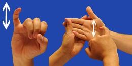 Letra Y, con flechas, en sistema dactilológico táctil