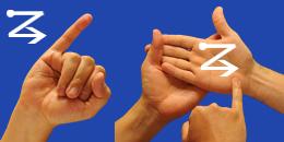 Letra Z, con flechas, en sistema dactilológico táctil